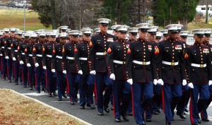 Marines marching for graduation